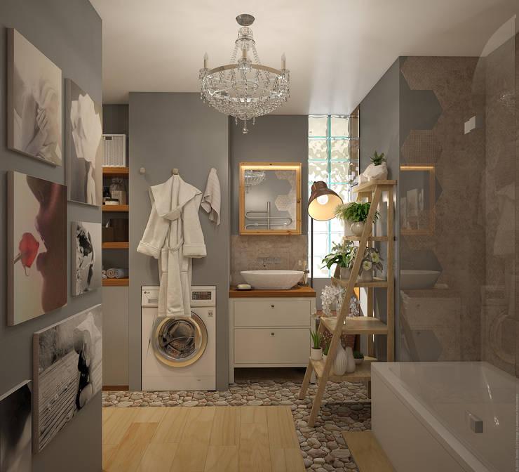 Экоквартира в Тропарево: Ванные комнаты в . Автор – «Студия 3.14», Эклектичный