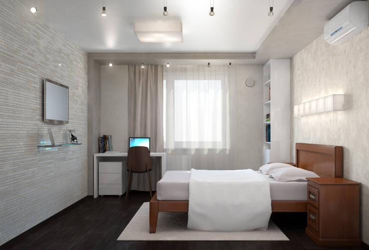 Двухкомнатная квартира для холостяка: Спальни в . Автор – Center of interior design