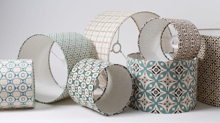 cotton and linen hand screen printed lampshades:  Household by akin & suri