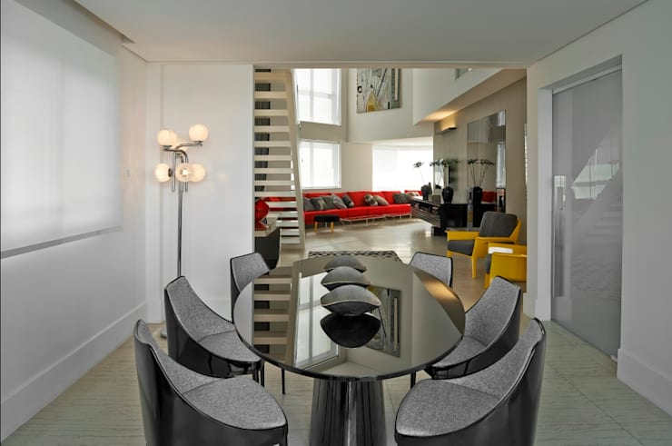 Cobertura Gutierrez: Salas de jantar modernas por Cassio Gontijo Arquitetura e Decoração