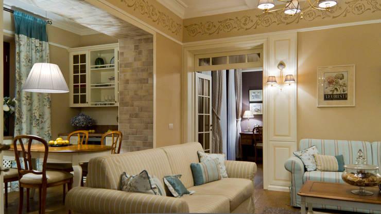 La provenza Italiana - Design degli interni della Villa a Rapallo: Soggiorno in stile in stile Mediterraneo di NG-STUDIO Interior Design