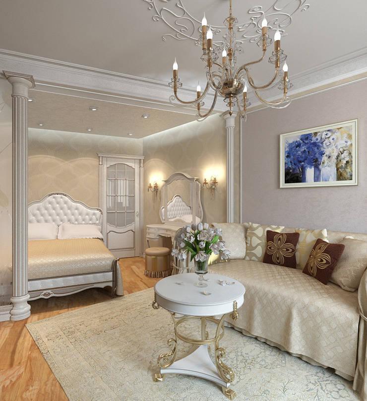 Гостиная-спальня: Спальни в . Автор – Aledoconcept, Классический