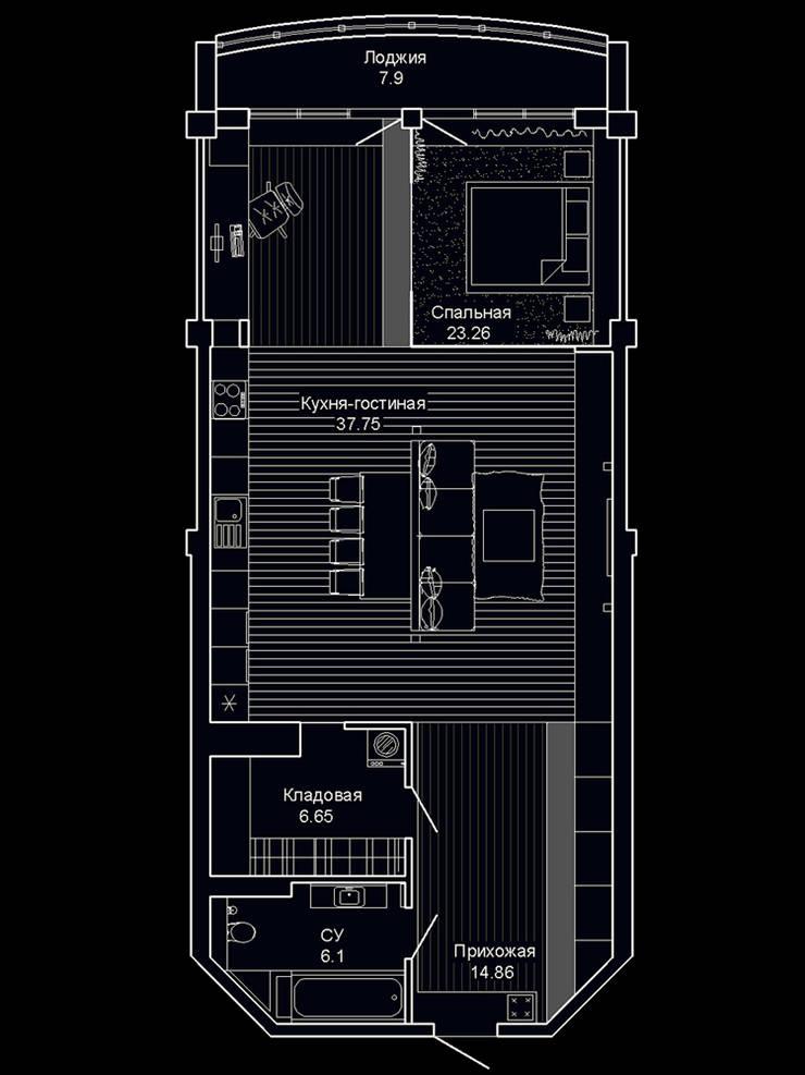 Квартира в ЖК Антарес. Екатеринбург. : Гостиная в . Автор – Dmitriy Khanin