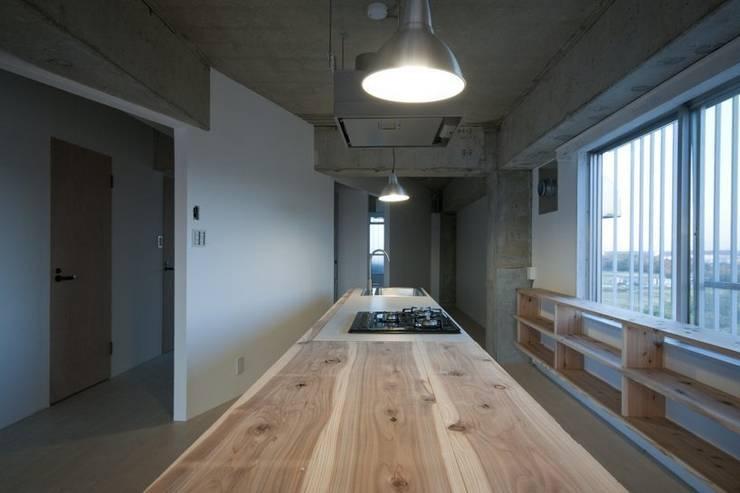 Tk さんのためのアパート: kurosawa kawara-tenが手掛けたキッチンです。
