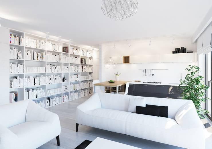 Wizualizacje – OSIEDLE EUROPEJSKIE – KOPENHAGA (WNĘTRZA): styl , w kategorii Salon zaprojektowany przez Studio3Design