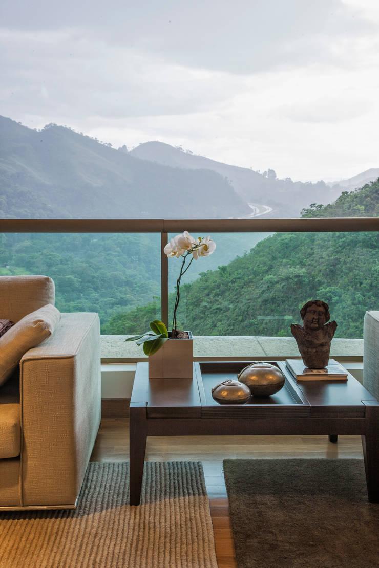 Detalhe da Sala: Salas de estar modernas por Lage Caporali Arquitetas Associadas