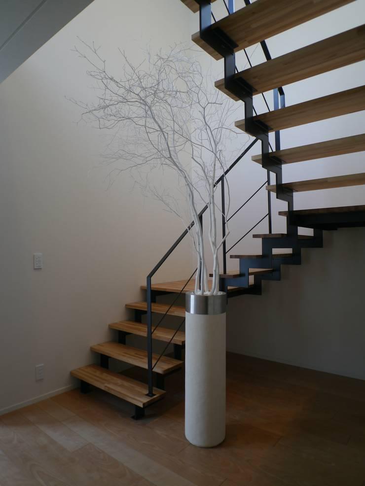 1階と2階を結ぶアーティスティックな階段: 株式会社スター・ウェッジが手掛けた玄関&廊下&階段です。