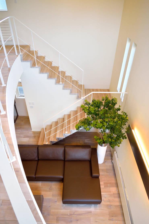 美しいアーチを描く吹き抜け空間: 株式会社スター・ウェッジが手掛けた玄関&廊下&階段です。