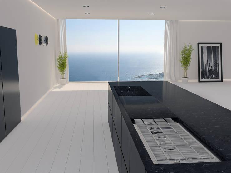 Cucina minimal di walls 3d vizualization homify for Cucina minimal