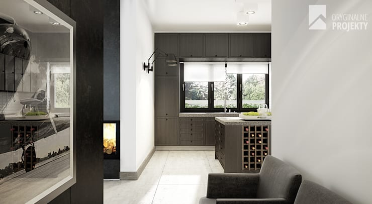 Projekt domu Ignotus - wnętrza.: styl , w kategorii Kuchnia zaprojektowany przez Oryginalneprojekty s.c.