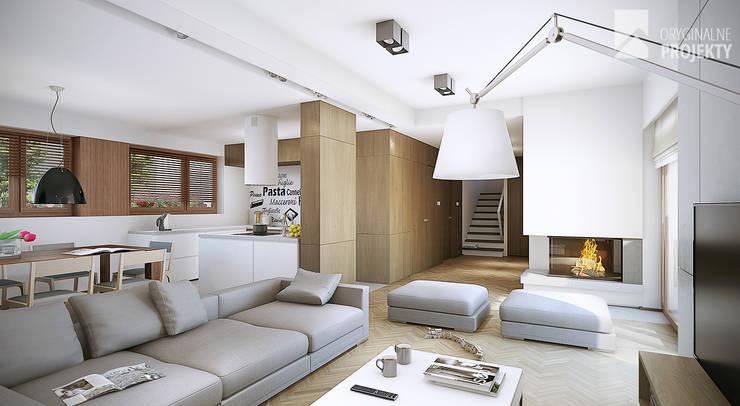 Projekt domu Sana - wnętrza: styl , w kategorii Salon zaprojektowany przez Oryginalneprojekty s.c.