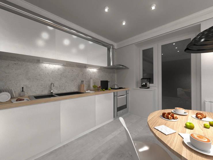 Скандинавия: визуализация современной квартиры : Кухни в . Автор – OK Interior Design
