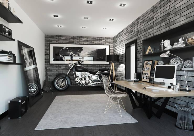Мужская обитель, квартира-студия: Гостиная в . Автор – OK Interior Design,
