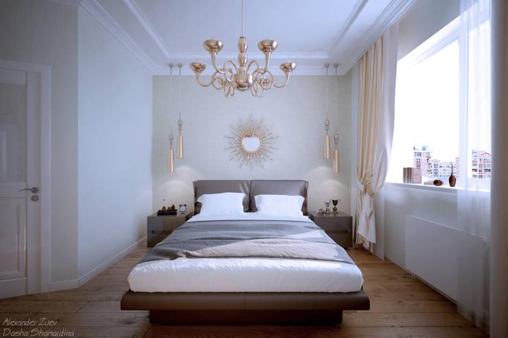 """Дизайн спальни в стиле """"Неоклассика"""" в ЖК """"Екатеринодар"""" (Краснодар): Спальни в . Автор – Студия интерьерного дизайна happy.design"""