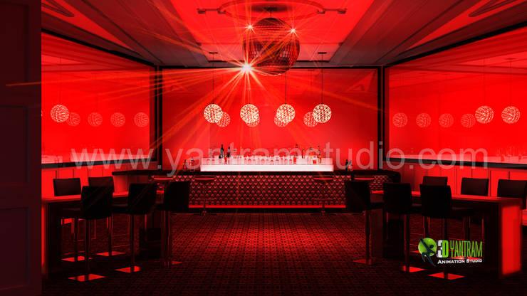 3D Interior Design Rendering for Bar:  Artwork by Yantram Architectural Design Studio