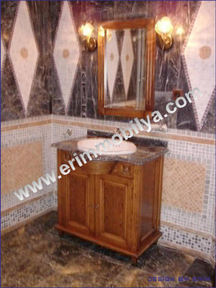 Erim Mobilya  – Banyo Dolabı:  tarz Banyo, Rustik Masif Ahşap Rengarenk