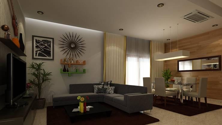 recent works: modern Living room by Freelance  3D visualiser