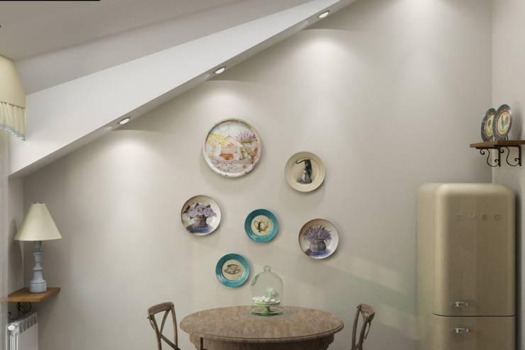 Винтаж на мансардном этаже: Столовые комнаты в . Автор – Студия дизайна и декора Светланы Фрунзе