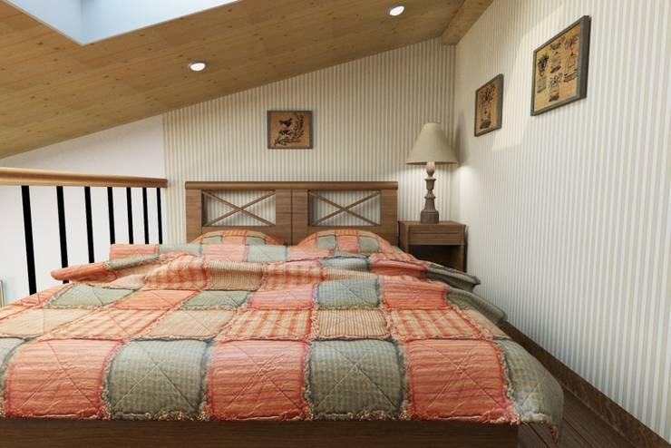Винтаж на мансардном этаже: Спальни в . Автор – Студия дизайна и декора Светланы Фрунзе