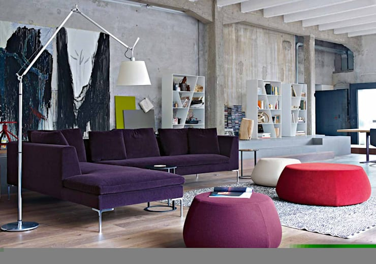 Charles Sofa by B&B Italia:  Living room by Campbell Watson