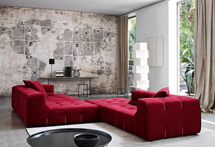 Tufty Time Sofa by B&B Italia:  Living room by Campbell Watson