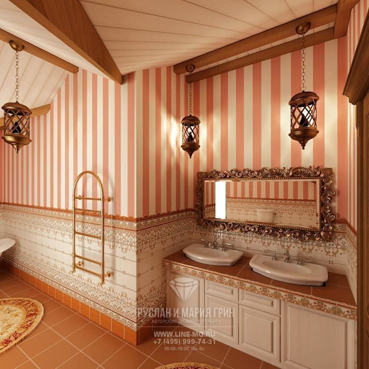 Дизайн-проект ванной комнаты в  доме из бруса: Ванные комнаты в . Автор – Студия дизайна интерьера Руслана и Марии Грин