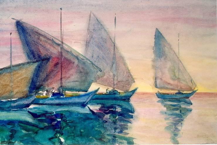 """Бумага.Акварель. """" Лодки"""": Произведения искусства в . Автор – KRAUKLIT VALERII"""