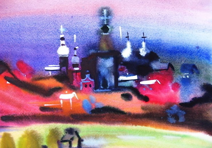 """Бумага. Акварель. """"Церковь"""": Произведения искусства в . Автор – KRAUKLIT VALERII"""