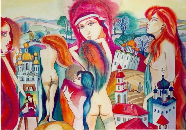 """Бумага. Акварель. """" Искушение"""": Произведения искусства в . Автор – KRAUKLIT VALERII"""