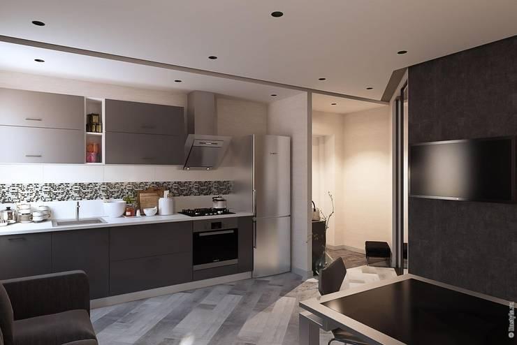 Гостиная - кухня: Кухни в . Автор – Дизайн-бюро «Линия стиля»