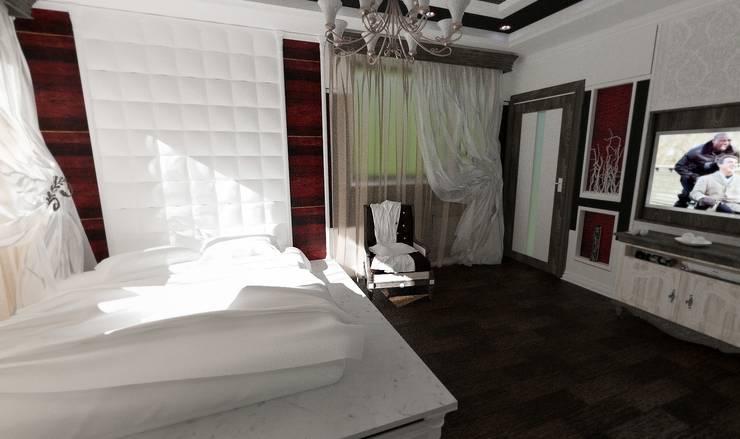 Вид с входа в помещение.: Спальни в . Автор – Nada-Design Студия дизайна.,