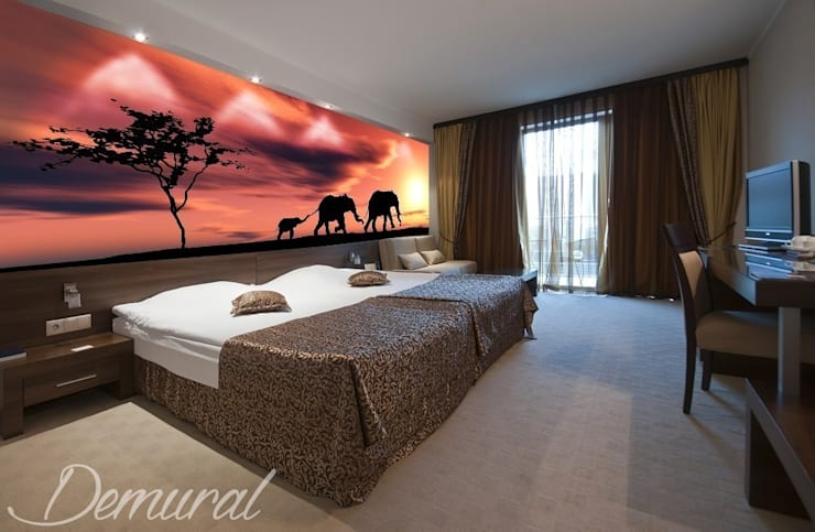 Pożegnanie z Afryką- Sawanna na dobranoc: styl , w kategorii Sypialnia zaprojektowany przez Demural.pl,