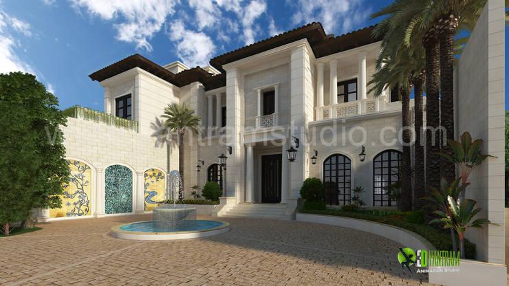 3D Exterior Design Rendering for Modern Home:  Artwork by Yantram Architectural Design Studio
