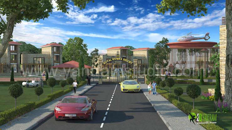 3D Exterior Architectural Rendering Resort:  Artwork by Yantram Architectural Design Studio