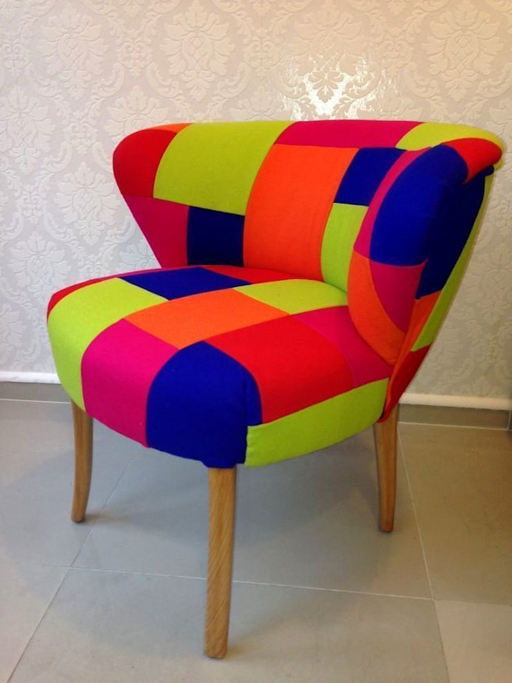 Fotel Klubowy Patchwork.: styl , w kategorii Salon zaprojektowany przez Juicy Colors