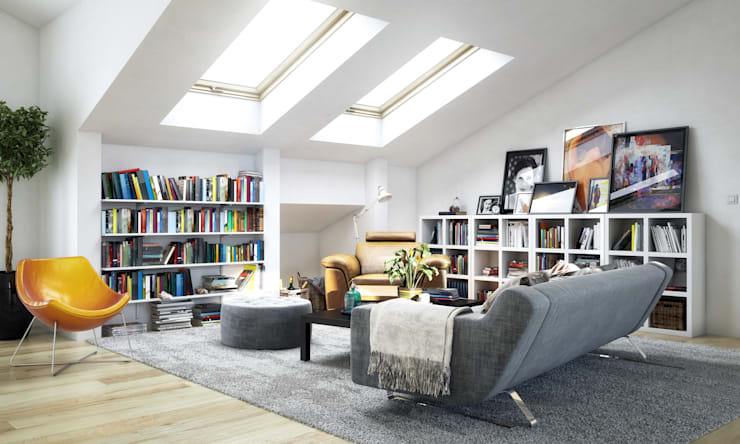 Cosy attic room.:  Living room by Piwko-Bespoke Fitted Furniture