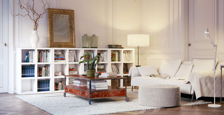Book Shelving Unit:  Living room by Piwko-Bespoke Fitted Furniture