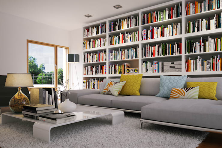 Home Library:  Living room by Piwko-Bespoke Fitted Furniture