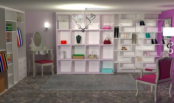 Walk in Wardrobe:  Dressing room by Piwko-Bespoke Fitted Furniture