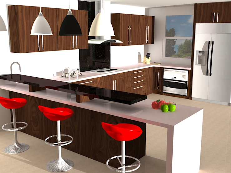 Walnut Modern Kitchen.: modern Kitchen by Piwko-Bespoke Fitted Furniture