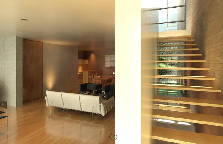 Casa Ocejo: Salas de estilo  por Lozano Arquitectos
