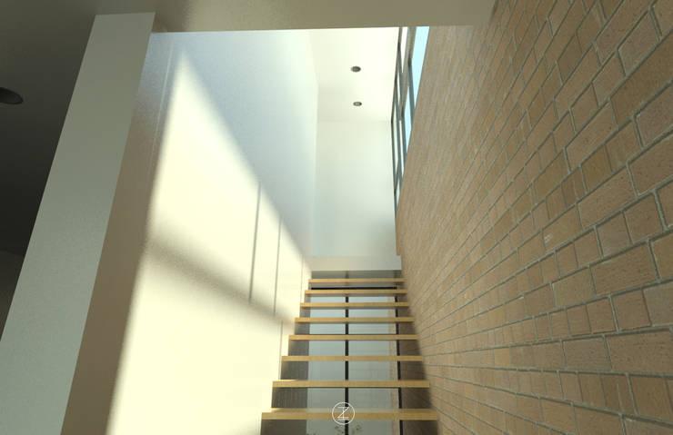 Casa Ocejo: Pasillos y recibidores de estilo  por Lozano Arquitectos