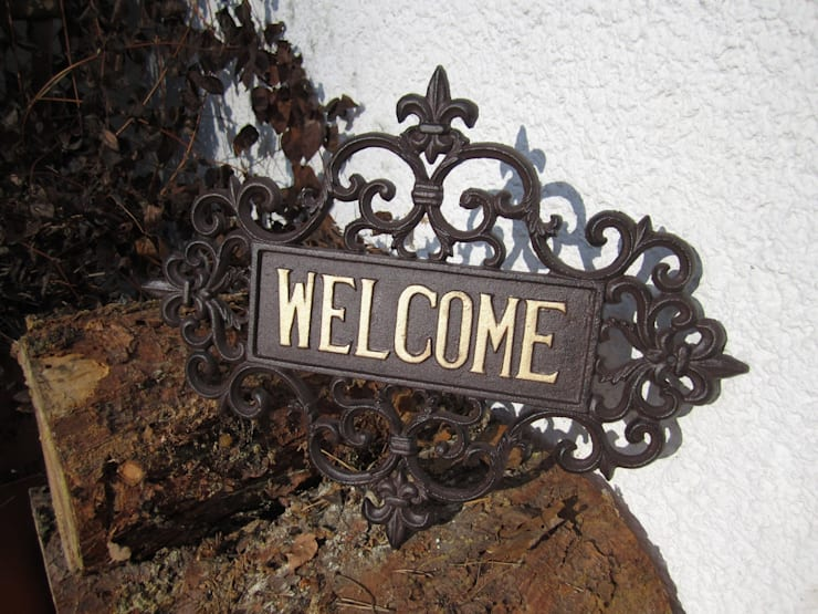Türschild Welcome:  Garten von Welt der Blüten