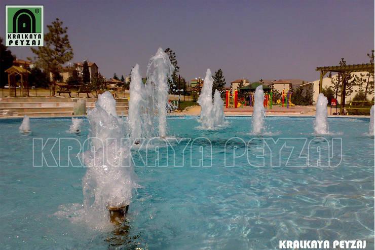 Kralkaya Peyzaj Havuz Fıskiye Sist. ve Pompa Mim. Müh. İnş. Ltd. Şti  – Suluova Belediyesi / Amasya - Aslan Sevda Parkı:  tarz Havuz