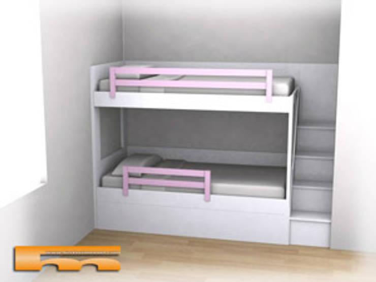 Proyecto de 3D de Litera a medida con escalera de cajones: Dormitorios infantiles de estilo  de Fusteriamanel.com
