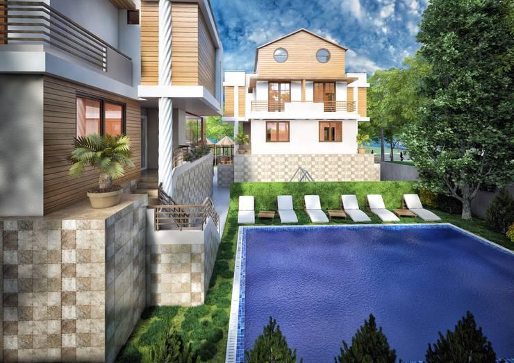 Point Dizayn – Bursa Mysia Villaları Cephe Tasarım:  tarz Evler