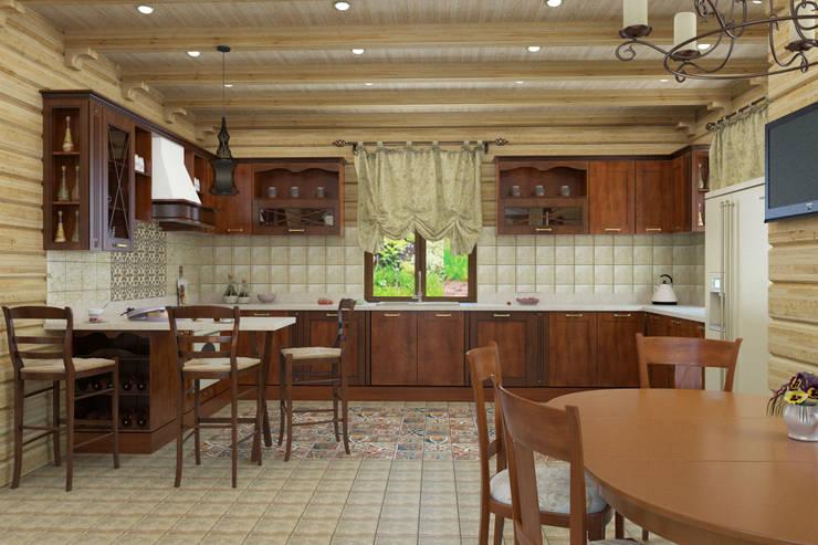 Дизайн-проект деревянного дома: Кухни в . Автор – Студия дизайна и декора Светланы Фрунзе