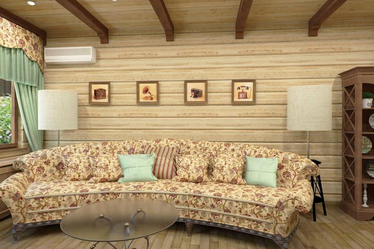 Дизайн-проект деревянного дома: Гостиная в . Автор – Студия дизайна и декора Светланы Фрунзе