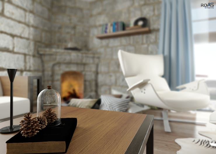 Living room by ROAS ARCHITECTURE 3D DESIGN AGENCY,