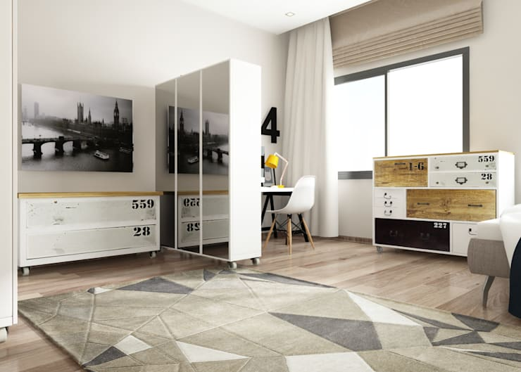 ROAS ARCHITECTURE 3D DESIGN – The Bedroom View2:  tarz Yatak Odası